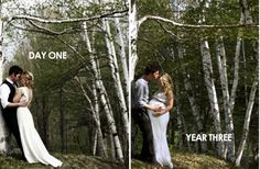this couple returned to the spot where their wedding photos were taken to capture another milestone. Great idea!!