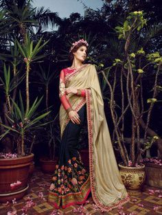 Blue Crepe Saree With Resham Embroidery Work