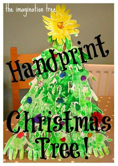 Handprint Christmas tree and other crafts