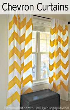 Here Comes the Sun: Yellow Chevron Curtains- I love these and the color! Thinking of doing chevron curtains in Keegan's Room Diy Bay Window Curtains, Chevron Curtains, Window Curtain Rods, Yellow Curtains, Custom Curtains, Painted Curtains, Curtain Call, Shower Curtains, Home Living