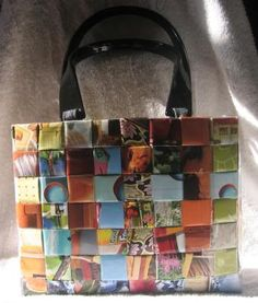 Woven recycled magazine bag.