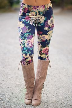 Day Dream Rose Printed Legging (Navy) - NanaMacs.com - 1