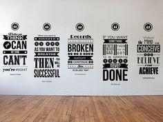 Eric Thomas, Henry Ford, Richard Branson, Zig Ziglar, Napoleon Hill Inspiring Wall Decal Quotes 5 Piece Set Wall Design