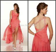 Find More Prom Dresses Information about Custom Made Coral Gathered Chiffon Beaded One Shoulder High Front Long Back Prom Dress,High Quality Prom Dresses from Forever Lover Bridal on Aliexpress.com