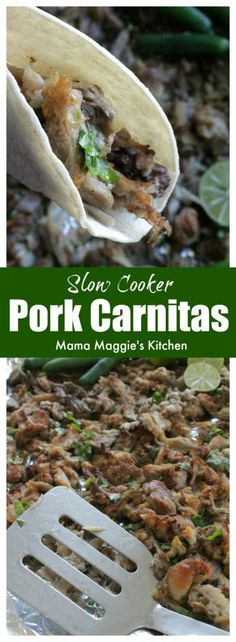 Slow Cooker Pork Carnitas is an easy recipe that involves minimal work and lots of flavor. This Mexican food classic is perfect for entertaining or busy weeknights. Serve with warm tortillas and salsa. by Mama Maggie's Kitchen via @maggieunz #tacotuesday #mexicanfood #mexican #mexicanrecipes #cincodemayo