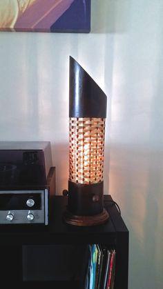 Bamboo Table Lamp Handmade Bamboo Lampshade Asian by CreateitUp Bamboo Light, Bamboo Lamp, Bamboo Table, Candle Lamp, Candles, Bamboo Ideas, Pvc Projects, Light Design, Night Lamps