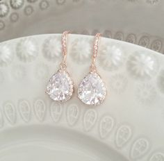 these are gorgeous!  Rose Gold Bridal Earrings Pink Gold Wedding by SarahWalshBridal, $50.00