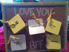 Gift idea for your friends: get a cork board, hot glue ribbons around the boarder and purchase small cards. Place gift cards inside and write a message! #birthdays #giftidea #DIY