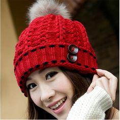 Caliente elegante sombreros para mujer invierno y otoño gorros gorros tejidos de piel gruesa bola de los accesorios del arnés gorros de lana mujer HA016