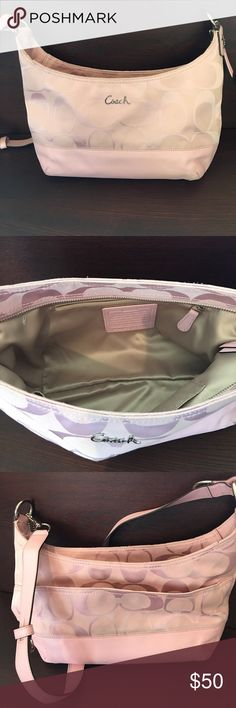 Coach purse Pink fabric/leather coach purse. Very gently used. Coach Bags Shoulder Bags
