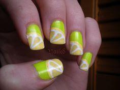 Yellow Lemon nail art