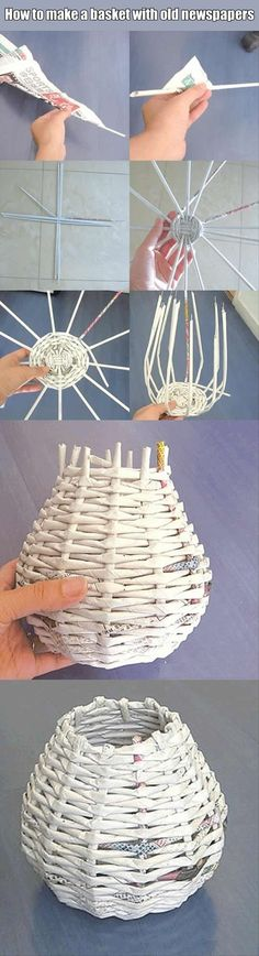 Craft ideas: How to make basket with old newspapers