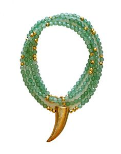 The richness & color in the mint chrysoprase rondelles used in this necklace is absolutely amazing! We combined the gorgeous faceted gemstones with a touch of gold by wire wrapping the chain & added s
