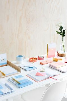 Be Brave with this gorgeous peach and ice blue watercolour stationery collection featuring journals, notebooks and Cute Stationery, Stationery Paper, E Commerce, Stationary Design, Kikki K, Swedish Design, Bookbinding, Paper Goods, Paper Crafts