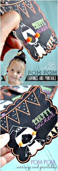 Pom Pom Earrings and Free Printable at the36thavenue.com Perfect to give to classmates and friends... Pretty Wicked!