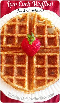 #bakingoutsidethebox | This Low Carb Waffles Recipe is a delicious, crunchy treat with just 3 net carbs per serving.  -- A happy Saturday morning any day of the week.