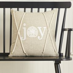 Joy Coastal Pillow Cover #birchlane  DIY:  SEW ROPE INTO SEAMS,  IN MIDDLE OF PILLOW - INTERLOOP ROPE into a (sailor's) knot!