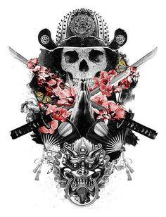 Mixed design of a praying skull samurai, flowers and a fu-dog Kunst Tattoos, Bild Tattoos, Ronin Samurai, 16 Tattoo, Fu Dog, Meaningful Tattoos For Women, Temporary Tattoo Designs, Beste Tattoo, Japan Tattoo