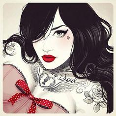 New tattoo girl drawing pin up vintage illustrations Ideas Art And Illustration, Girl Illustrations, Illustration Fashion, Arte Pop, Fantasy Anime, Fantasy Art, Image Nice, Rik Lee, Dibujos Pin Up
