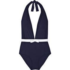 Miu Miu Plunge-front halterneck swimsuit ($155) ❤ liked on Polyvore featuring swimwear, one-piece swimsuits, swimsuits, swim, bathing suits, bikini, women, white halter top, halter swimsuit and swim suits