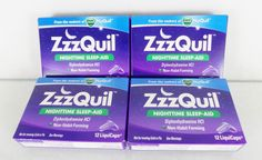 #Zzzquil lot/set of four (4) 12 count ct. size boxes of #nighttime #night #sleep aid LiquiCaps for 48 pieces total with non-habit forming #Diphenhydramine HCl active ingredient and 2016-2017 expiration dates from the makers of Vicks and NyQuil, brand new and unused in original manufacturer's blue and purple cardboard box factory sealed retail protective packaging…