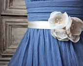 Caramel Brown Organza Flower Belt with Burlap and Polka Dot Guinea Feathers (Style No. 22) Bridesmaid Sash. $25.00, via Etsy.