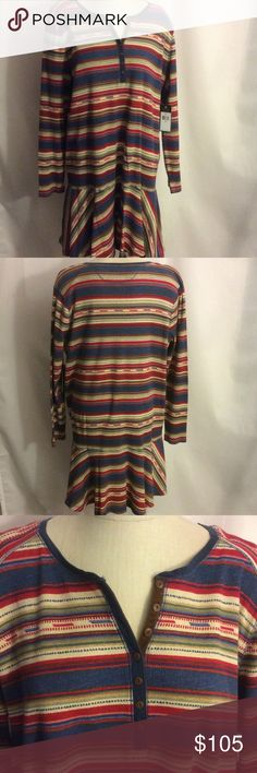 """NWT Lauren Ralph Lauren Striped Dress 3X Plus Size NWT Lauren Ralph Lauren Jeans Striped  Dress 3X Plus in 3X 54"""" chest, 40""""long  from shoulder. The flounce is the last 12"""" inches. The top is Henley style  Material: 100% Cotton Sheerness: Opaque Neckline: Henley  Sleeve Style: Long Closure Style: Button Pocket Style: No pocket Made in Vietnam. machine wash  warm. Fabric like a thin thermal in red, Jean blue, tan, greens gold.   Care and Cleaning: Machine wash, cold, Non chlorine bleach when…"""
