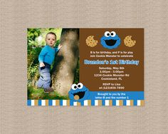 Cookie Monster Birthday Party Invitation  Inspired by Honeyprint, $15.00