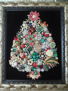 Vintage Rhinestone Jewelry Framed Christmas Tree Noahs Ark Santa Angels | eBay