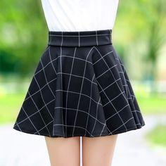 FREE SHIPPING 2015 Fall/Winter Vintage A-Line Plaid Skirt