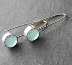 Pale Blue Resin and Silver Polka Spots Earrings by fugudesigns