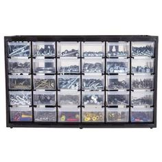 Rebrilliant This product has uniform sized drawers. The cabinet is lightweight, extra durable and ideal for organizing fasteners, small parts, tools, and hobby supplies. The see-through drawers make it easy to identify the contents of each drawer. Plastic Storage Drawers, Drawer Storage Unit, Storage Bins, Storage Containers, Storage Chest, Storage Systems, Storage Ideas, Craft Storage Cart, Rolling Storage Cart