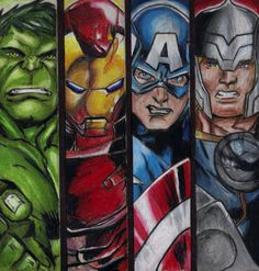 Avengers Comic Book Drawing 8x10 Art Print Hulk Iron by JAOartwork