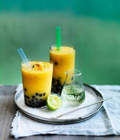 Australian Gourmet Traveller recipe for mango and kaffir lime bubble tea.