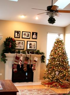 {Family-centered holiday decor} Using photos and personal mementos to surround your family with happy memories during the holiday season. Click through for a few special photo display ideas.