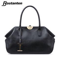 Bostanten 정품 가죽 가방 진짜 가죽 가방 여성 핸드백 높은 품질 여성 가방 토트 블랙 패션 클립 부랑자
