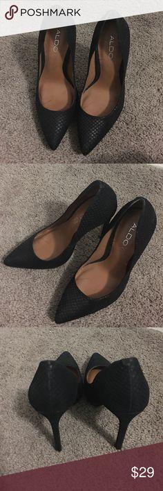 Black Aldo Snake Print Heels These gorgeous Black Aldo Heels, feature a snake print!! Worn Only A Few Times. ALDO Shoes Heels