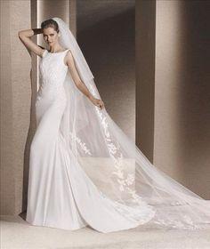 Raquel crepe sheath dress Ivory 2015 2016 la Sposa by Pronovias