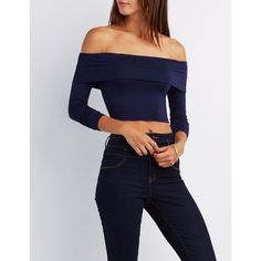 Charlotte Russe Tiered Off-The-Shoulder Crop Top ($12) ❤ liked on Polyvore featuring tops, navy, charlotte russe tops, off the shoulder crop top, off shoulder crop top, blue crop top and navy top