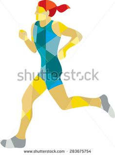 Low polygon style illustration of female marathon triathlete runner running viewed from the side set on isolated white background.