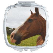 Horse,_Chocolate,_Ladies_Square_Compact_Mirror. Makeup Mirror
