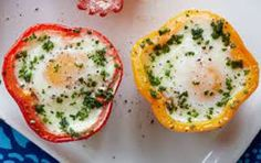 Baked Eggs in Peppers (also known as Pepper Egg-in-a-Hole) make breakfast a party—and give whole new meaning to the idea of stuffed peppers. How To Make Breakfast, Low Carb Breakfast, Healthy Breakfast Recipes, Brunch Recipes, Homemade Breakfast, Breakfast Buffet, Healthy Recipes, Diabetic Recipes, Healthy Eating