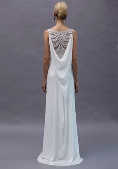 Rivini Rita Vinieris Nova - Modern draped sheath with plunging cowl back, swags of delicate beading and hgh front slit