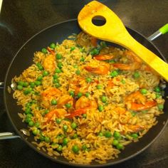 Shrimp fried rice from leftovers