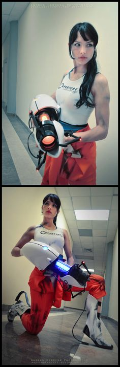 Chell (from Portal) by AngelaBermudez.  Oh my God, she has long-fall boots