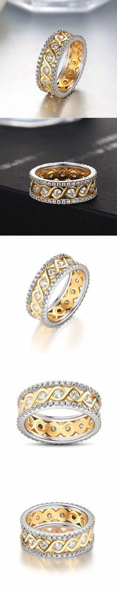 Lajerrio Jewelry Gold Round Cut White Sapphire S925 Wedding Bands