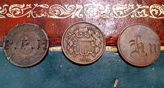 2 cent coins - one stamped and the other a love token!