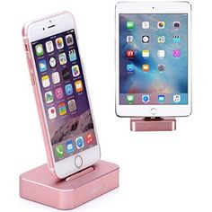 Apple iPhone/iPad Mini Charge Stand, Lecxci [Stable Aluminum Rose Gold iPhone Charging Desktop] [Assembling & No Charge Cable Included] Dock Cradle Station for iphone 6 / 6s Plus / 5s / 5