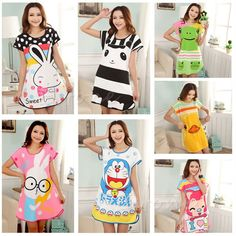 487afc1e6 2200+Orders Price 2.67 Healthy home dress nightgown women Cartoon Polka Dot  Sleepwear Short