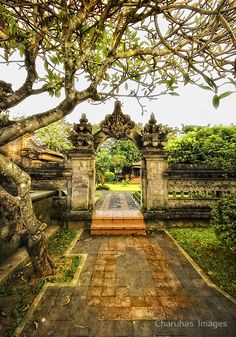 Entrance to a House Bali Bali Lombok, Timor Oriental, Balinese Garden, Balinese Decor, Voyage Bali, Garden Gates, Garden Entrance, House Entrance, Grand Entrance